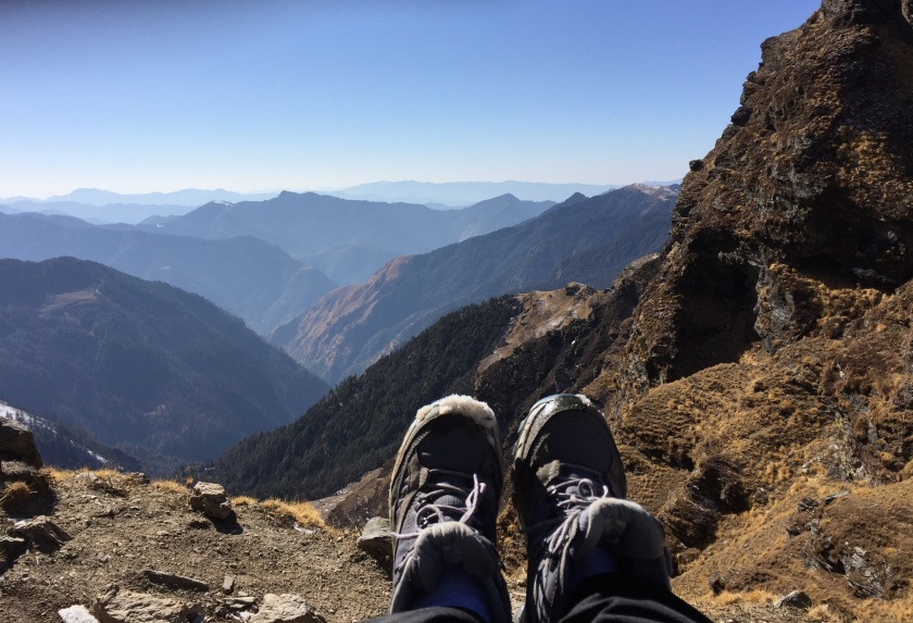 Kuari Pass - Neelaanjana Paul - At the summit with a wee bit of snow on my shoes as a testimonial to the snow-laden path we just traversed