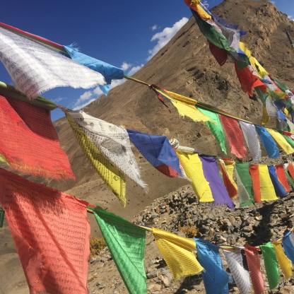 Prayer flags fluttering in the wind