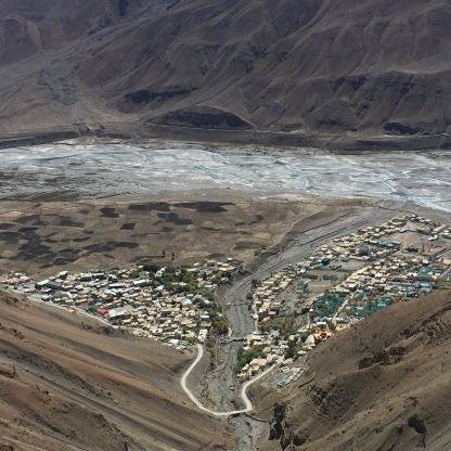 View of Kaza from the mountain top