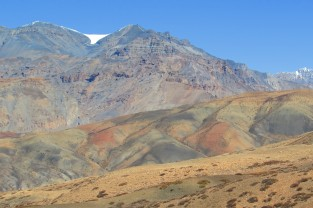The varied colours of the mountain at Langza