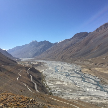 Road from Rangrik to Kaza with Spiti River in the valley