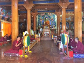 Prayer ritual inside the new Gompa