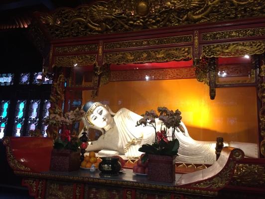 The marble reclining Buddha, often mistaken as the Jade Buddha